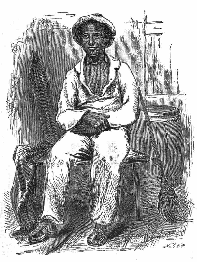 "An illustration from the memoir Twelve Years A Slave shows Solomon Northup in his ""plantation suit."""
