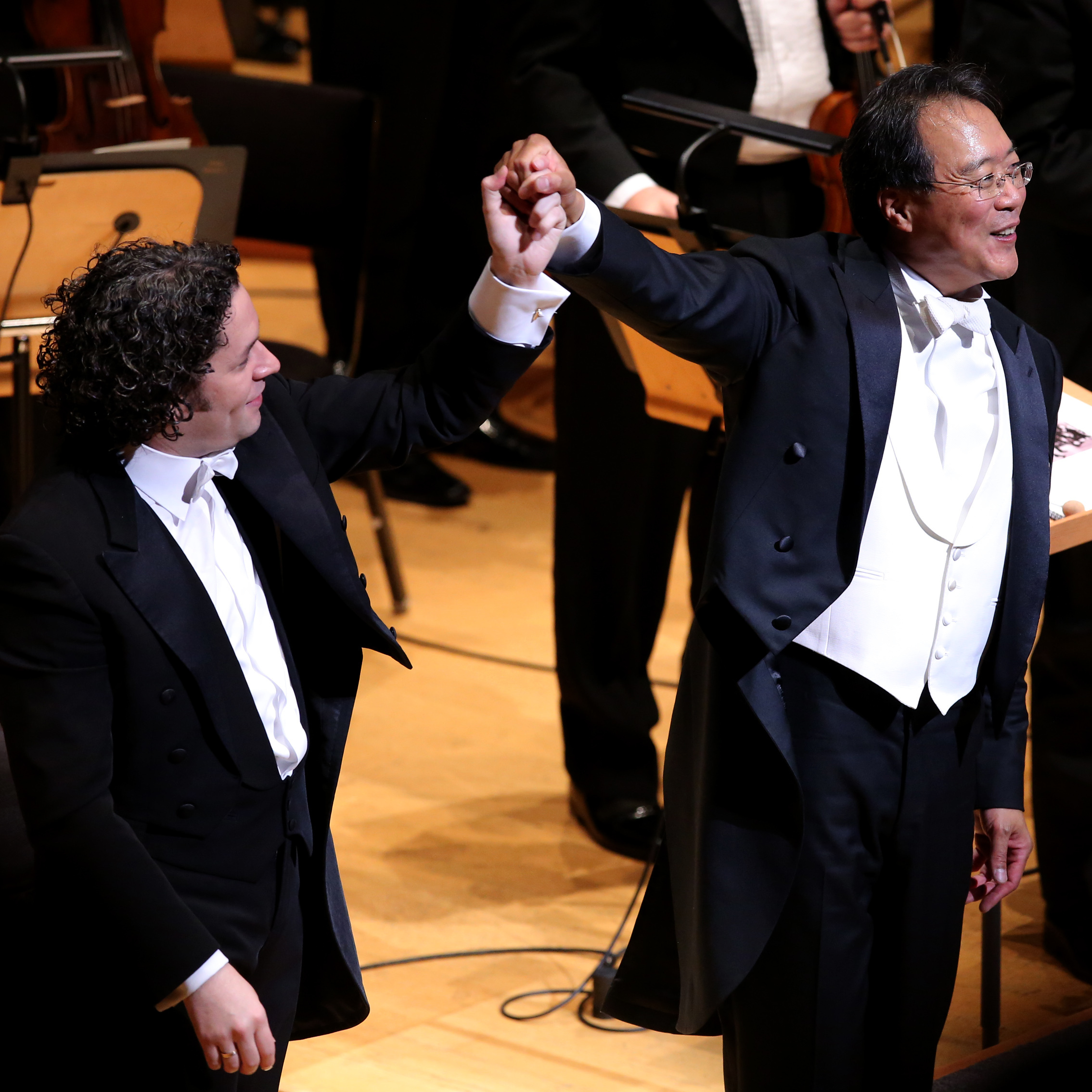 Gustavo Dudamel, music director of the LA Philharmonic, with cellist Yo-Yo Ma at Disney Hall's 10th anniversary opening night gala concert.