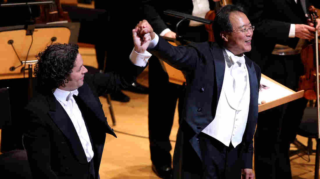 Gustavo Dudamel, music director of the LA Philharmonic, with cellist Yo-Yo Ma at Disney Hall's 10th anniversary opening night gala concert.