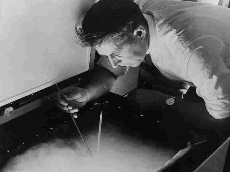 Vincent Schaefer, one of the General Electric scientists who worked on Project Cirrus in the 1940s, makes snow in the lab using dry ice.