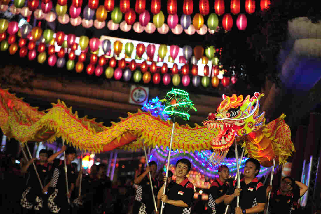 """Performers participate in the """"Kaleidoscope of Lanterns"""" light-up ceremony held at Singapore's Chinatown on Sept. 7."""