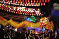 "Performers participate in the ""Kaleidoscope of Lanterns"" light-up ceremony held at Singapore's Chinatown on Sept. 7."