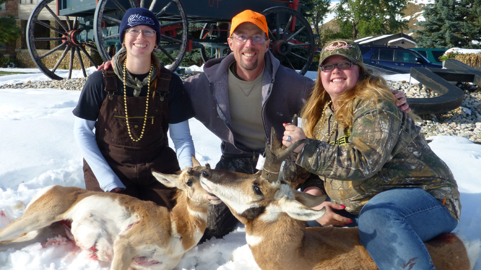 Tara Heaton (left) and Crystal Mayfield with guide Fred Williams at a women's antelope hunt in Wyoming. Before the event, both women had hunted almost exclusively with male relatives, not other women.