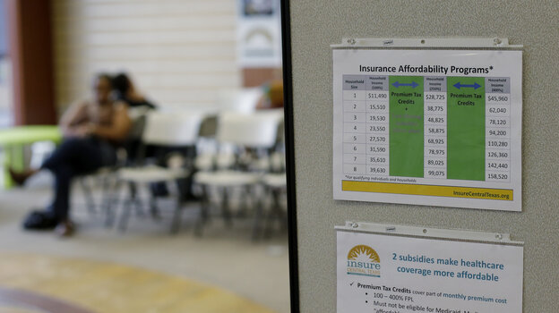 People wait to visit with volunteer counselors at Insure Central Texas in Austin on Oct. 1.