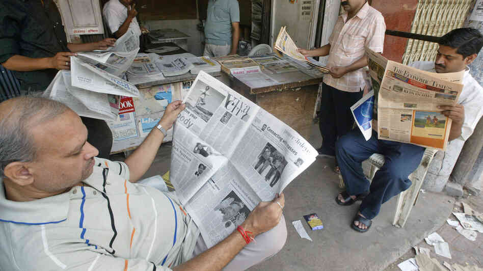 A newsstand in the northern Indian city of Allahabad.