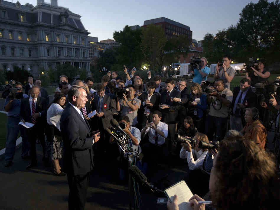 House Speaker John Boehner, R-Ohio, speaks to reporters following a meeting with President Obama at the White House on Oct. 2.