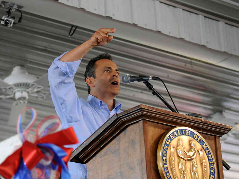 Matt Bevin speaks during the 133rd Annual Fancy Farm Picnic in Fancy Farm, Ky., on Aug. 3. Bevin, a Louisville businessman, is challenging Se