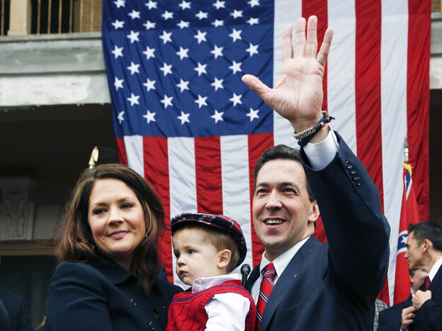 State Sen. Chris McDaniel waves at supporters after announcing his candidacy for the U.S. Senate during a rally at the Jones County Courthouse in Ellisville, Miss., on Thursday.
