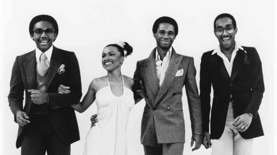 Chic in 1977. From left to right, Bernard Edwards, Norma Jean Wright, Nile Rodgers and Tony Thompson.