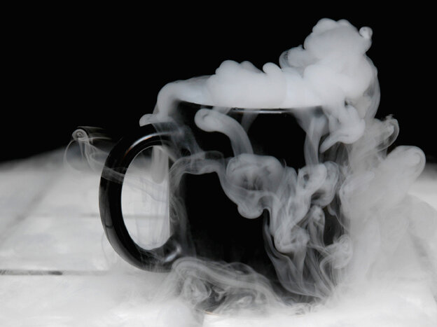 A coffee cup of dry ice.