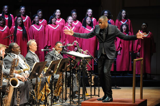 Damien Sneed assembled his 70-member Chorale Le Chateau to perform Wynton Marsalis Abyssinian Mass with the Jazz at Lincoln Center Orchestra.