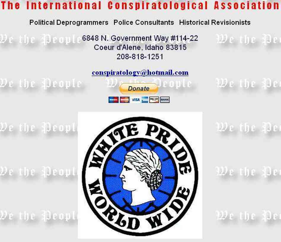 A screen grab of a cached version of The International Conspiratological Association website, an anti-Semitic organization. Under pressure from advocacy groups, MasterCard has since ended its merchant network relationship with the organization.