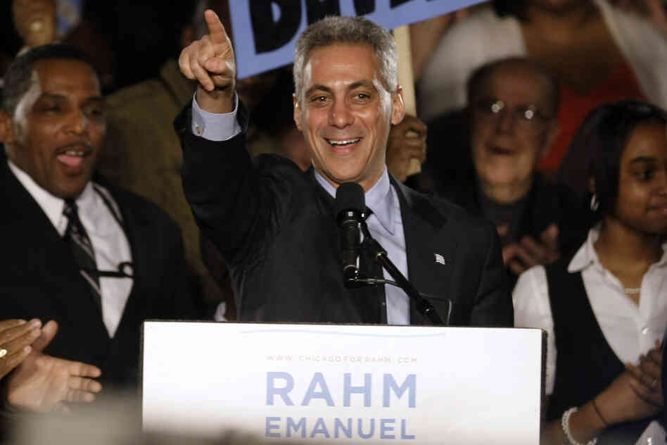 Former White House Chief of Staff Rahm Emanuel speaks at his election night party on Feb. 22, 2011, in Chicago. As mayor of Chicago, Emanuel has faced major challenges, ranging from a ballooning deficit to education, the economy and crime.