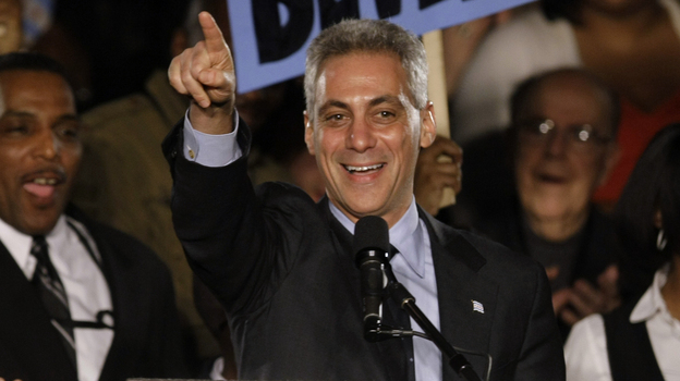 Former White House Chief of Staff Rahm Emanuel speaks at his election night party on Feb. 22, 2011, in Chicago. As mayor of Chicago, Emanuel has faced major challenges, ranging from a ballooning deficit to education, the economy and crime. (AP)