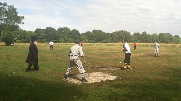 The Essex Base Ball Organization, a vintage baseball league, holds its games on a farm in Newburyport, Mass. (Edgar B. Herwick III for NPR)