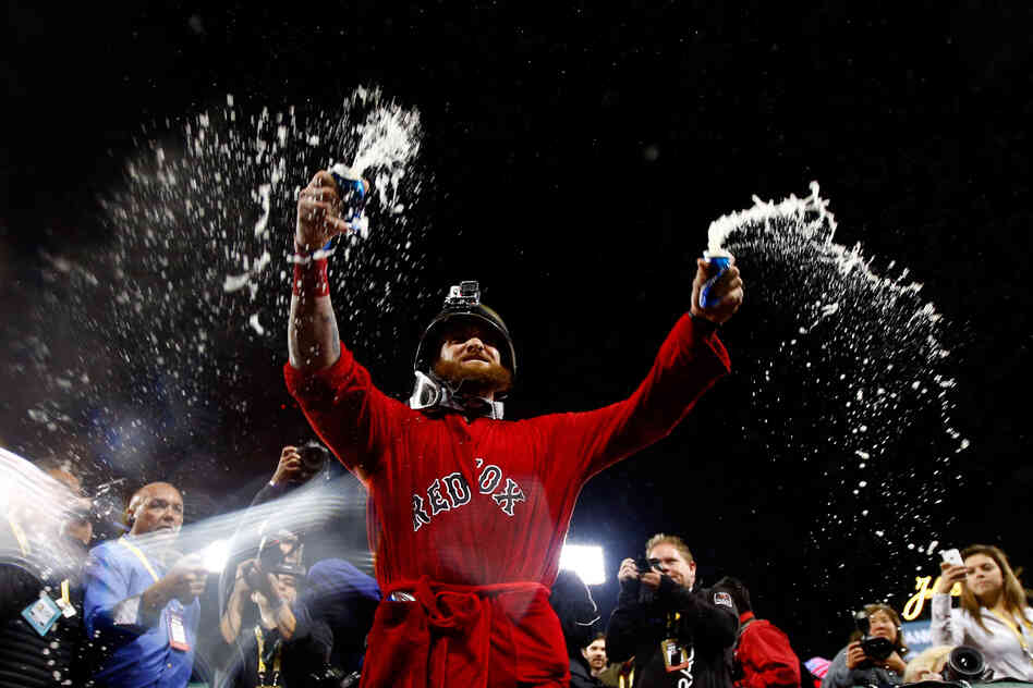Jonny Gomes of the Boston Red Sox celebrates after defeating the Detroit Tigers in Game Six of the American League Championship Series at Fenway Par