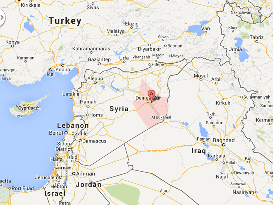 The suspected polio cases are in the Syrian province of Deir Ezzor (pink), which borders Iraq. (Courtesy of Map data (c) 2013 Basarsoft, Google, Mapa GISrael, ORION-ME)