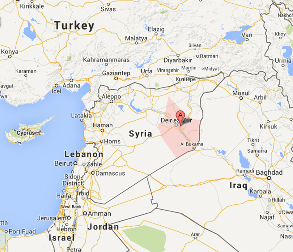 The suspected polio cases are in the Syrian province of Deir Ezzor (pink), which borders Iraq.