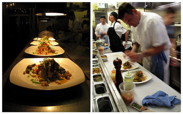 Chef Matthew Taylor in the kitchen of Benson Brewery, in Omaha, Neb., which promotes a meatless option every Monday. Left, a meatless entree, seitan piccata, at the brewery, ready to be served.