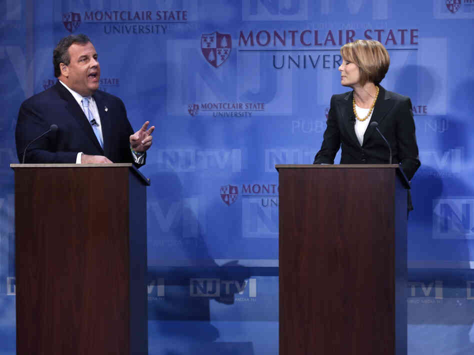 Republican New Jersey Gov. Chris Christie debates Democratic challenger Barbara Buono at Montclair University in Montclair, N.J., on Tuesday. Christie's decision not to fight gay marriage in the state takes away an issue Buono had been campaigning hard on.