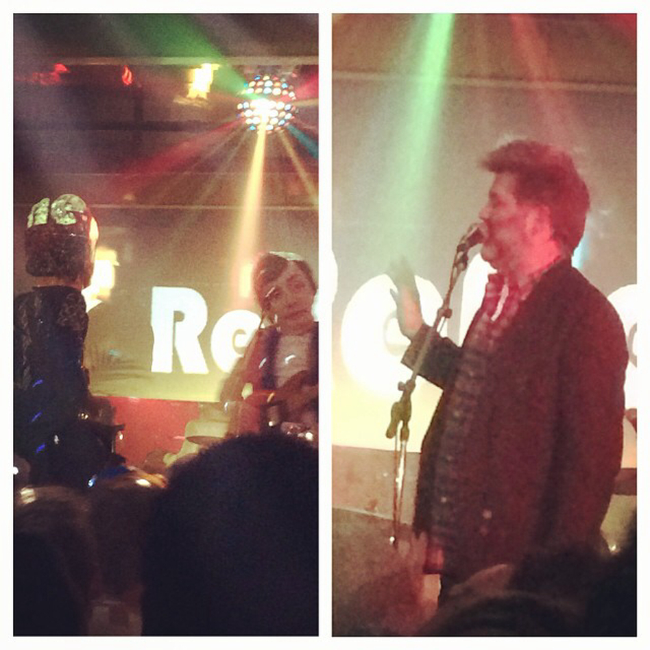 """""""James Murphy (LCD Soundsystem) at right introduced a decoy band of costumed characters called The Reflektors, shortly before Arcade Fire appeared on a different stage."""" - Bob Boilen"""