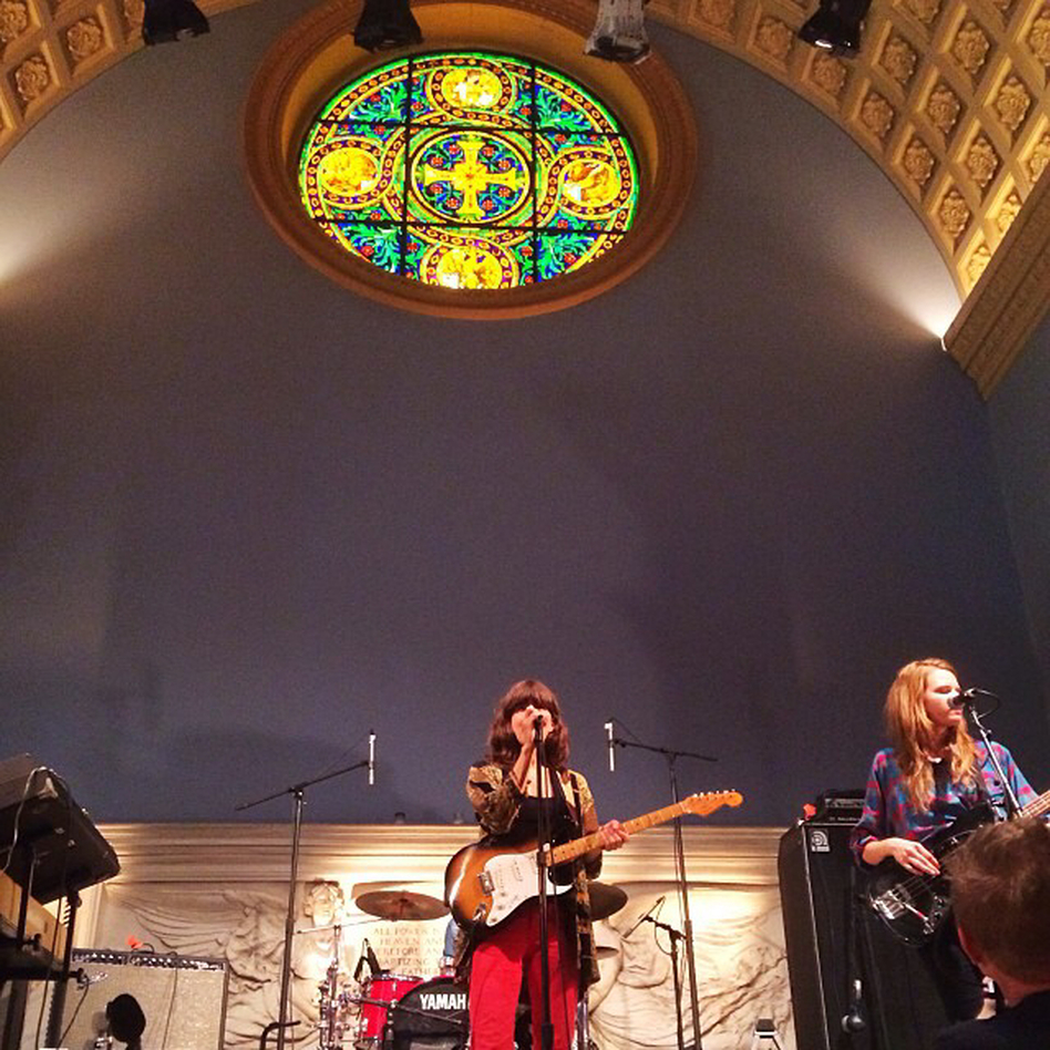 """""""Eleanor Friedberger, performing a live noon set for KEXP, at the Judson Memorial Church in New York. Madly love her words."""" - Bob Boilen"""
