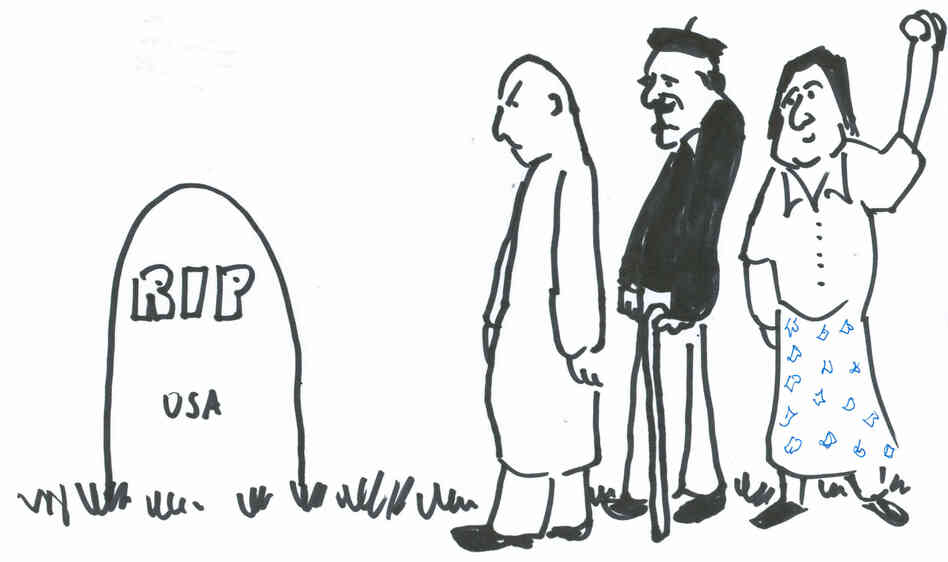 People at a grave
