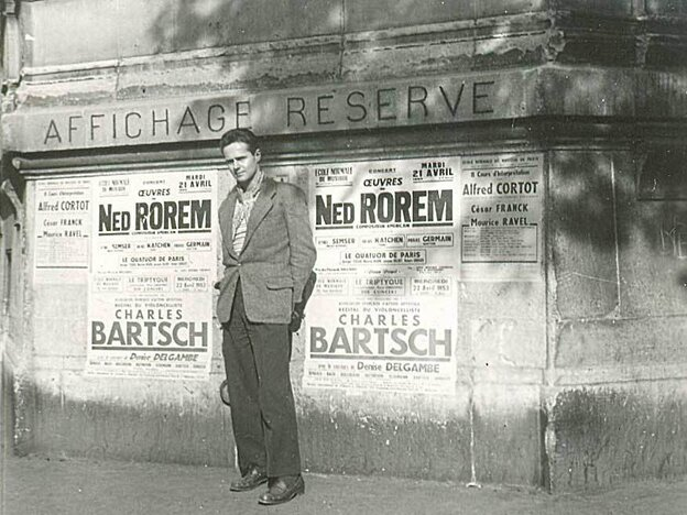Composer Ned Rorem in 1953 in Paris, where he lived for nearly a decade and wrote his infamous Paris Diary.