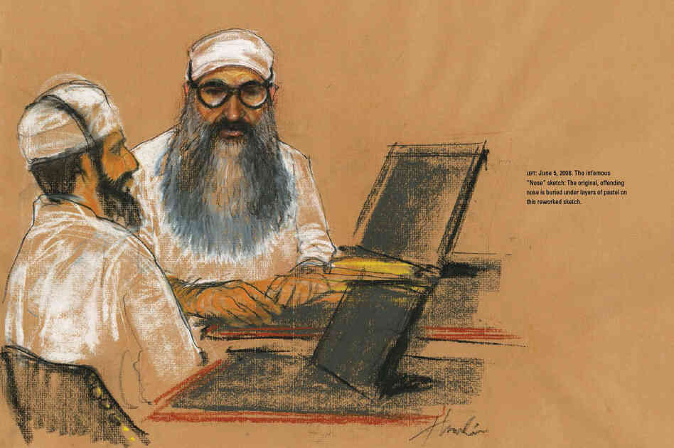 """The nose is wrong, and tell the artist to go get my F.B.I. picture off the Internet and use it as a reference to fix it."" The infamous ""Nose"" sketch: Khalid Sheikh Mohammed's original, offending nose is buried under layers of pastel on this reworked sketch."
