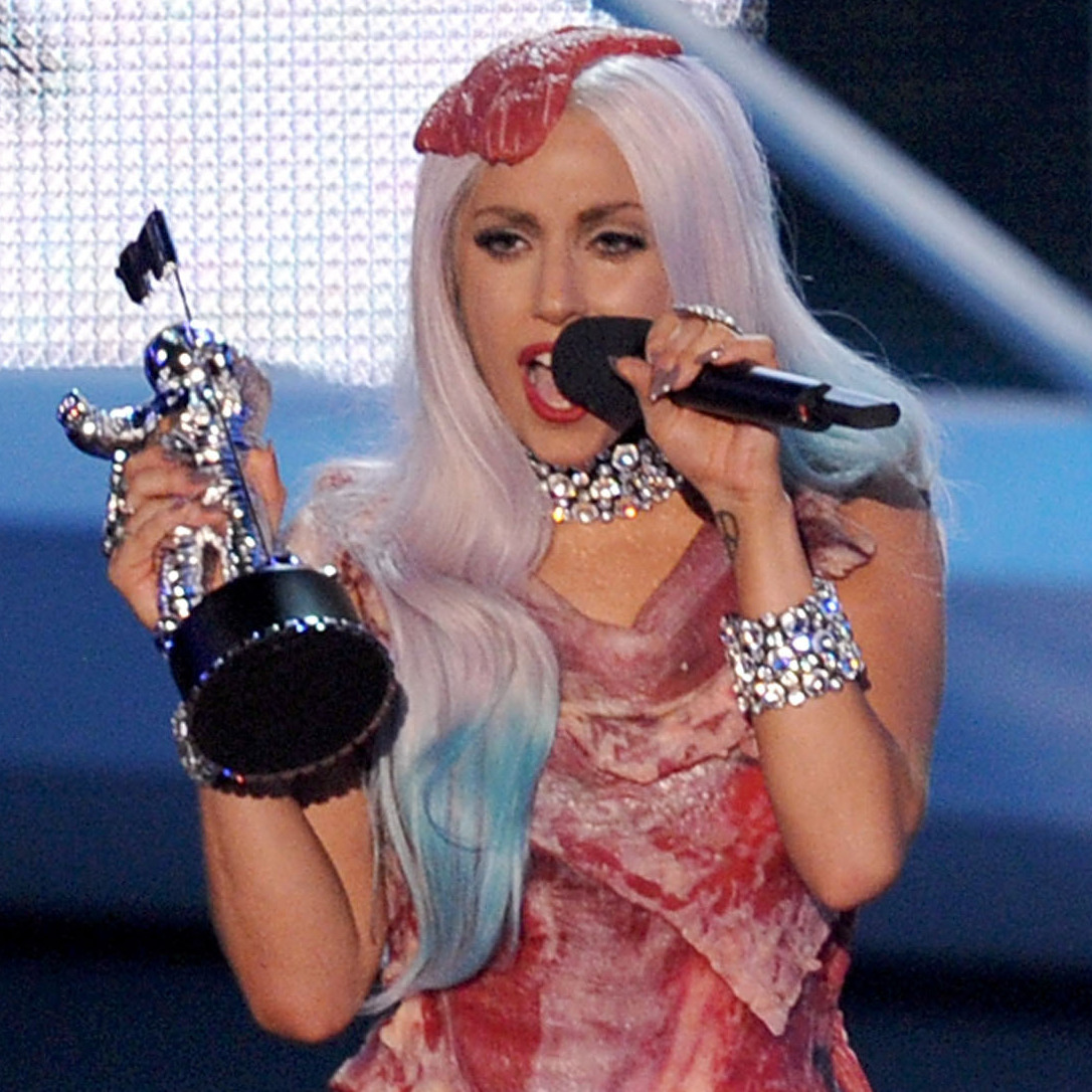 Lady Gaga wore her infamous steak dress while accepting the Video of the Year award at the 2010 MTV Video Music Awards.