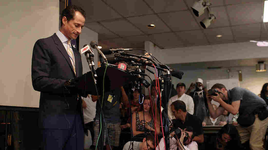 New York Rep. Anthony Weiner announces his resignation from Congress in the wake of a sexting scandal on June 16, 2011. His speech that day was incorporated into the play The Weiner Monologues.
