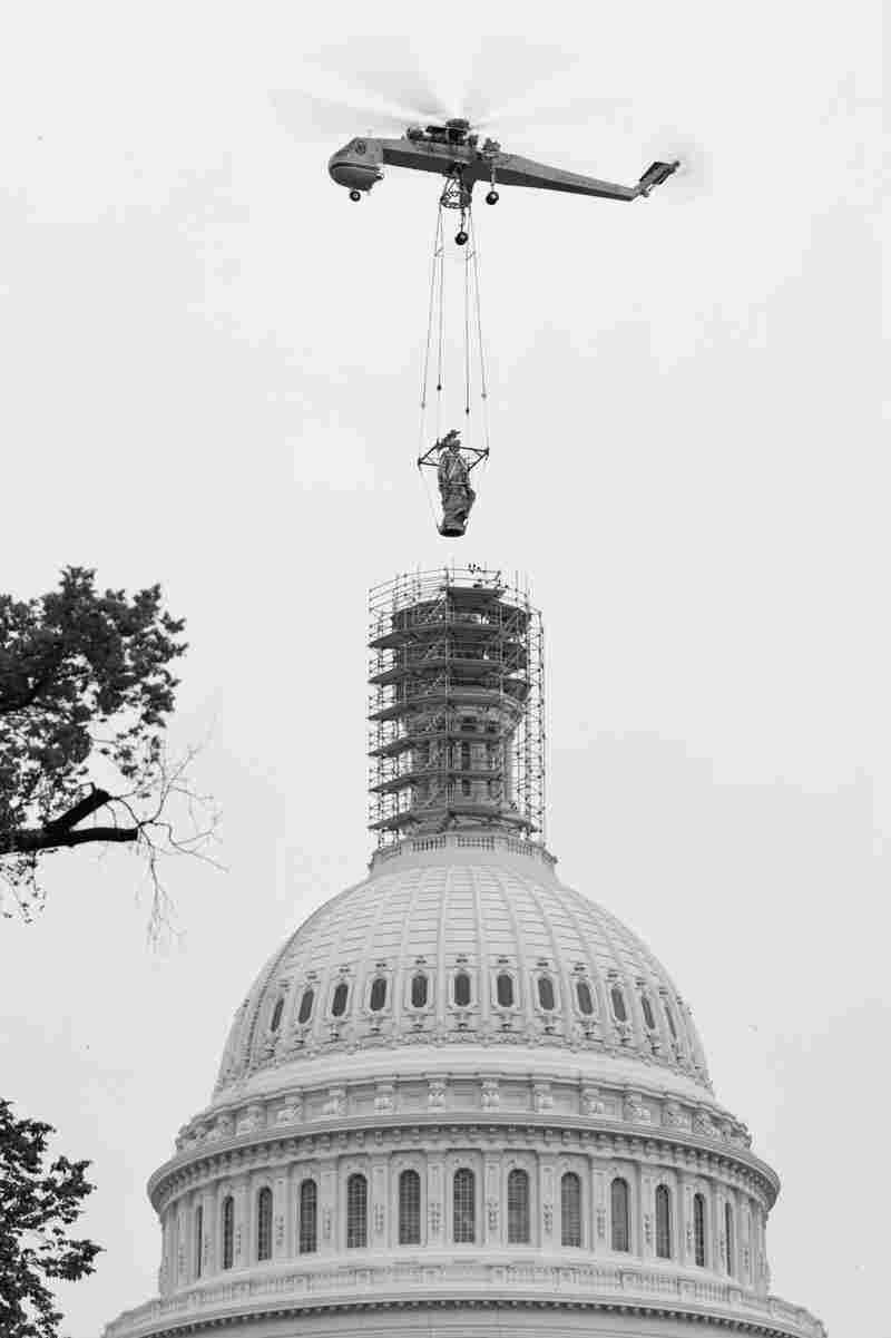 In 1993, the Statue of Freedom was airlifted off of the dome for restoration after almost 130 years atop the Capitol.