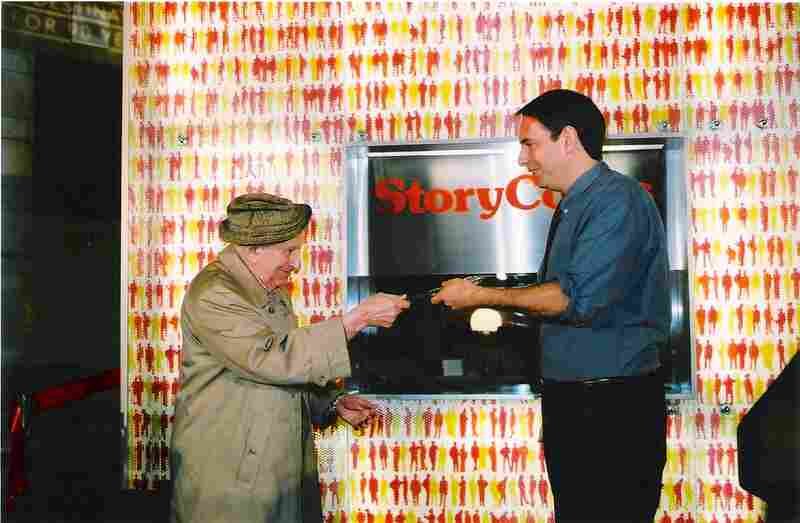 Ribbon cutting at StoryCorps' Grand Central Terminal studio in October 2003 with (l-r) the late Studs Terkel, popular oral historian and radio personality, and StoryCorps Founder Dave Isay.
