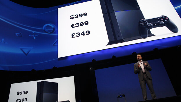Sony announced U.S. and European prices for its new PlayStation 4 at a news conference