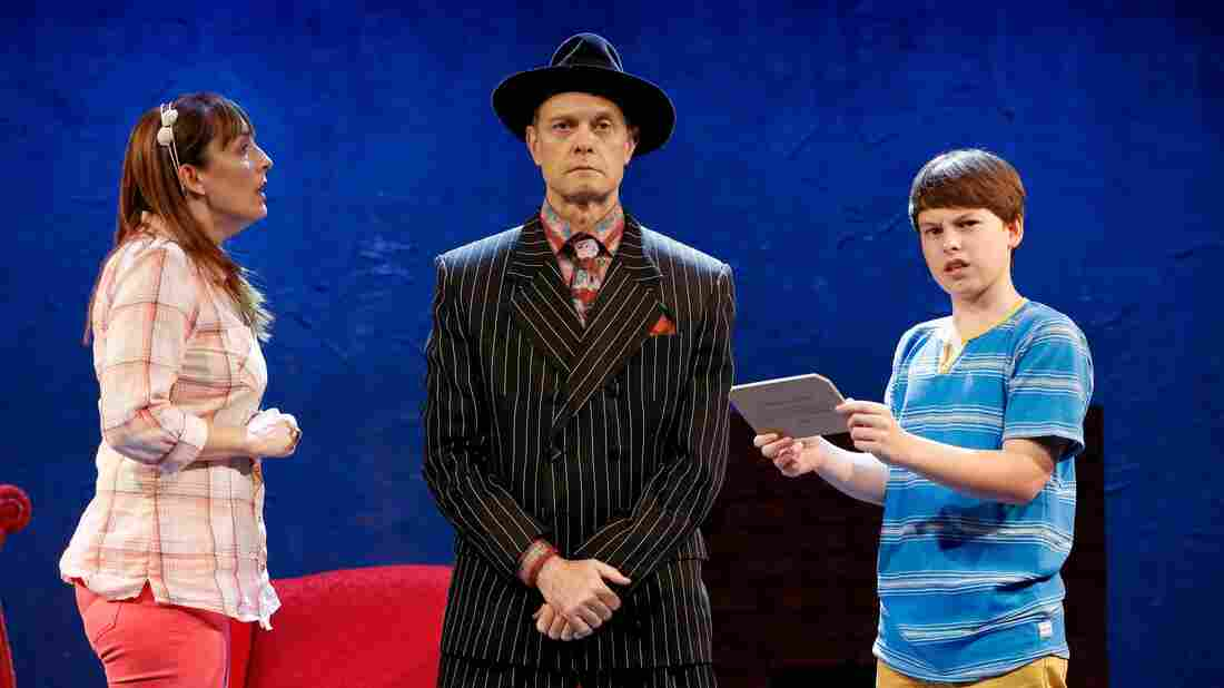 David Hyde Pierce (center), Julia Murney and Frankie Seratch star in The Landing, a new musical from Broadway veteran John Kander, who co-wrote it with Greg Pierce. David Hyde Pierce previously starred in one of the latter collaborations between Kander and his late songwriting partner, Fred Ebb — the 2006 musical Curtains.