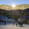 People gathered on a spot in front of the town hall of Rjukan, Norway, last week, where mirrors have focused sunlight.