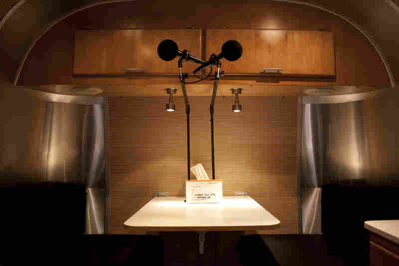 A peek inside the StoryCorps Airstream trailer where participants have 40 minutes to record their story.