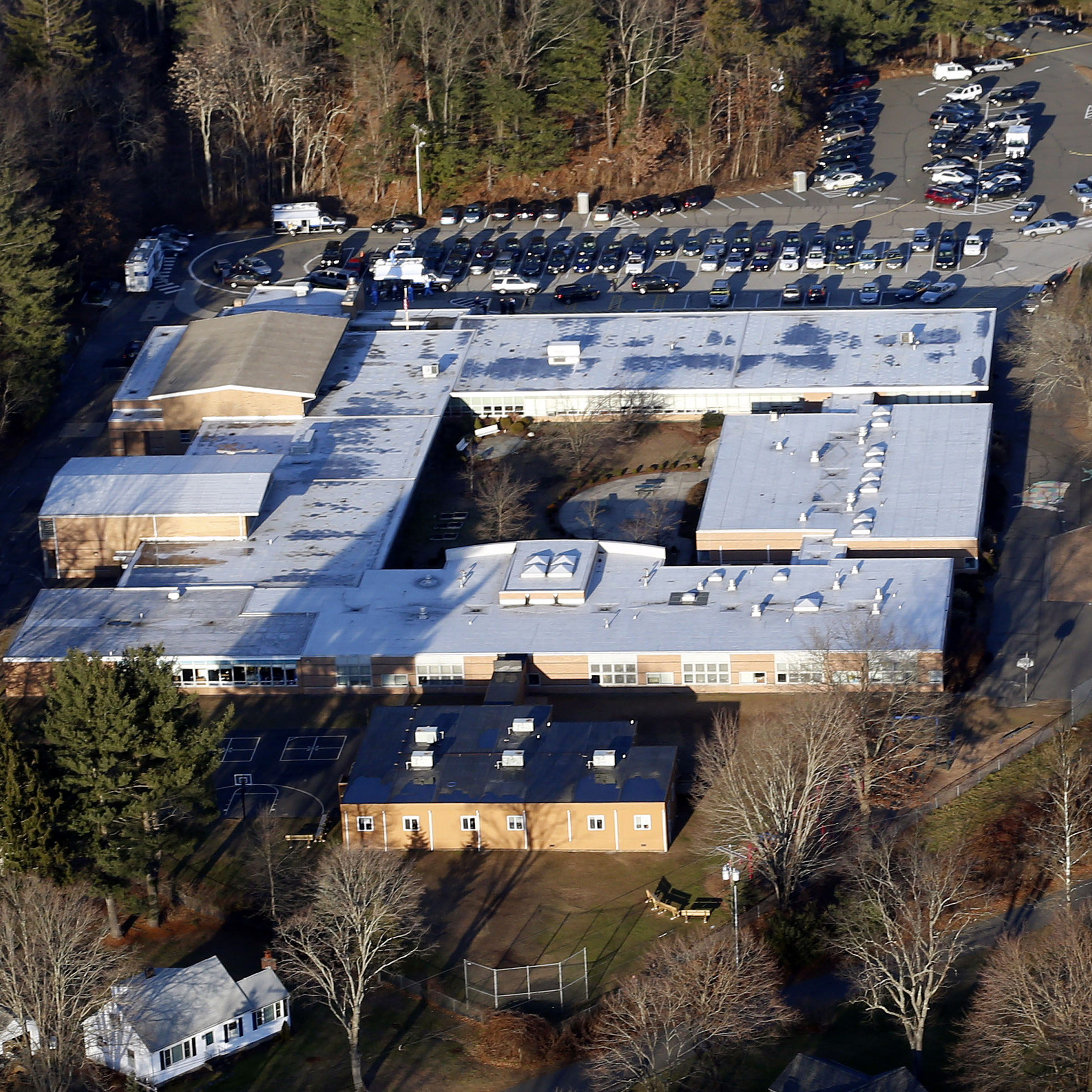 Sandy Hook Elementary School in Newtown, Conn., is shown last Dec. 14, when a gunman killed 20 children and six adults. The building is now being destroyed; a new school will be built on the site.