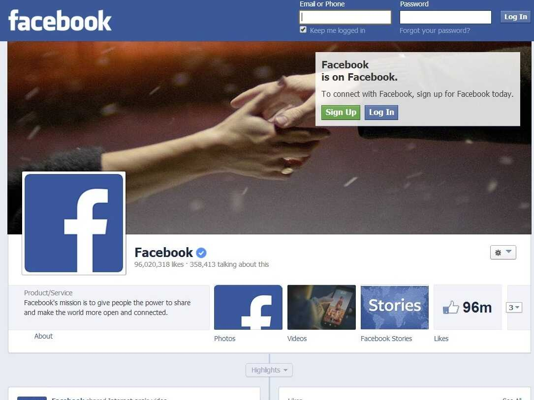 Facebook's homepage.