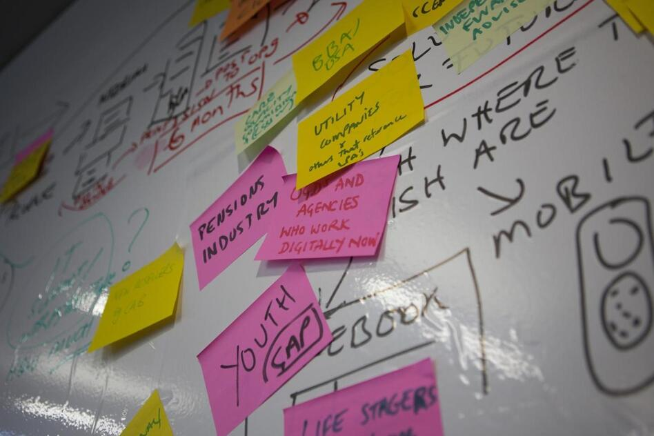 A wall of tasks at the offices of the U.K.'s Government Digital Service. (Flickr)