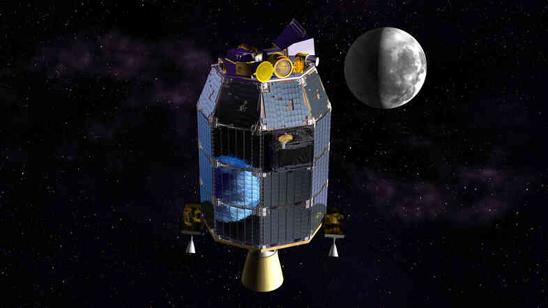 NASA's Lunar Atmosphere and Dust Environment Explorer probe, seen in this artist's rendering, is orbiting the moon to gather detailed information about the lunar surface.