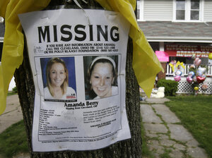 A poster was still on display outside the Cleveland home of Amanda Berry after she was rescued in May along with Gina DeJesus and Michelle Knight.