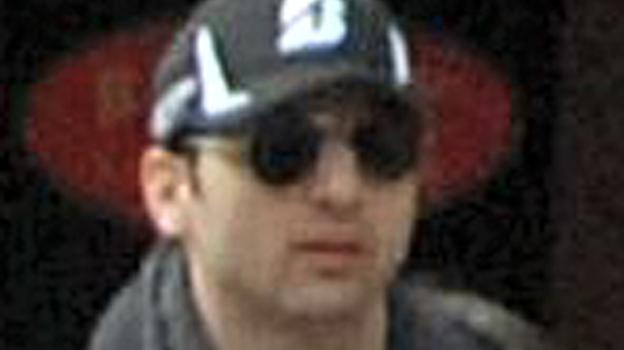 Tamerlan Tsarnaev, as seen in a video taken on April 15 near the finish line of the Boston Marathon. (FBI.gov)