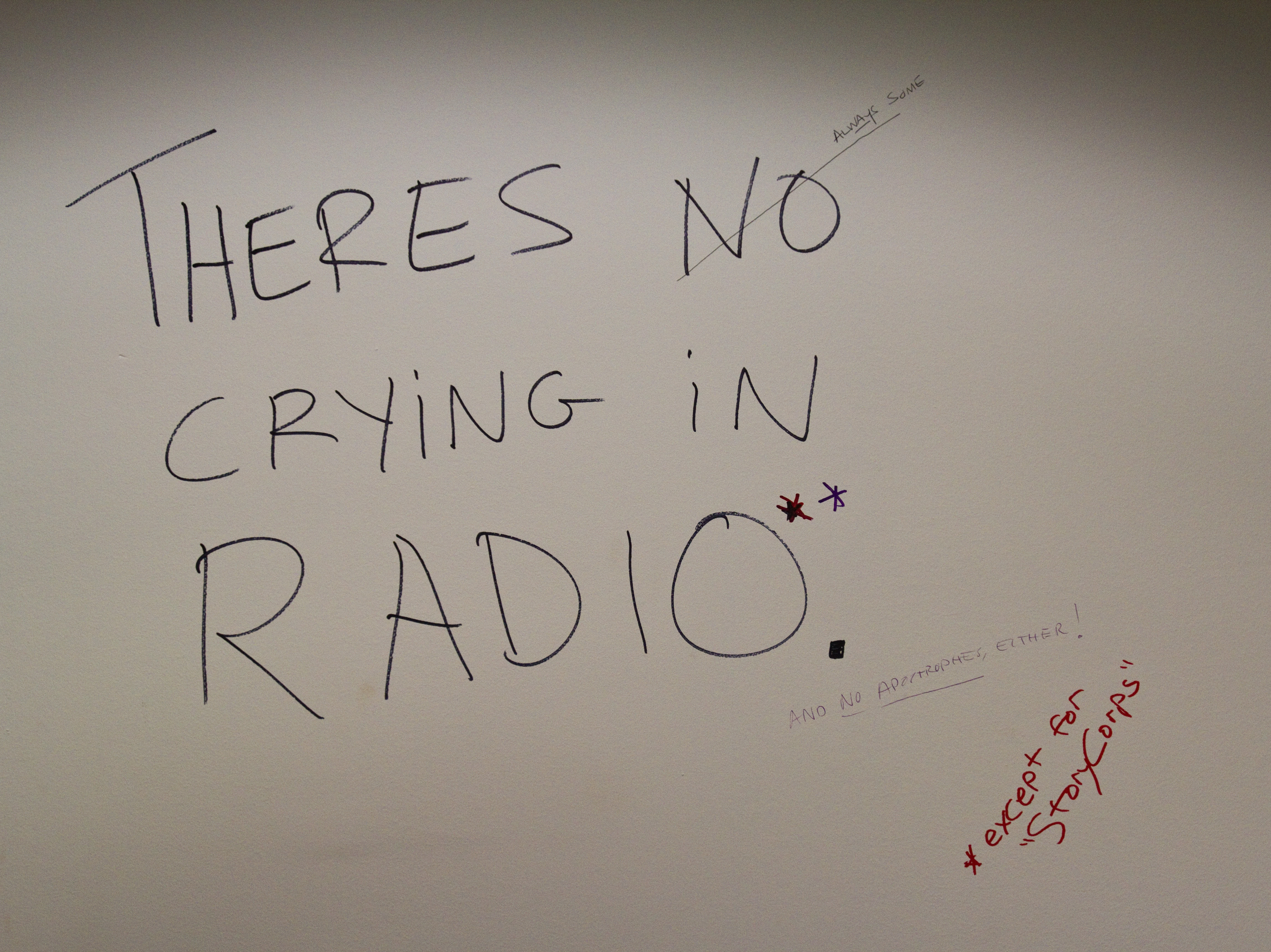 """""""There's no crying in radio. (Except for StoryCorps)"""" - one of the messages cast on the wall of our old building in its final days as NPR headquarters."""