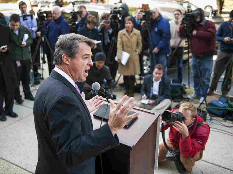 Maryland Attorney General Doug Gansler meets with reporters Thursday to explain his actions during a summertime visit to a teenage house party.