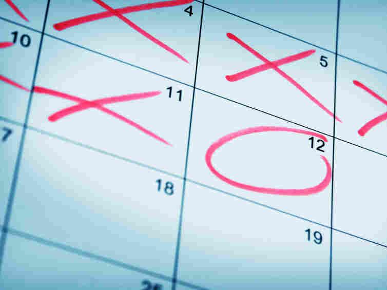 A calendar marked up.