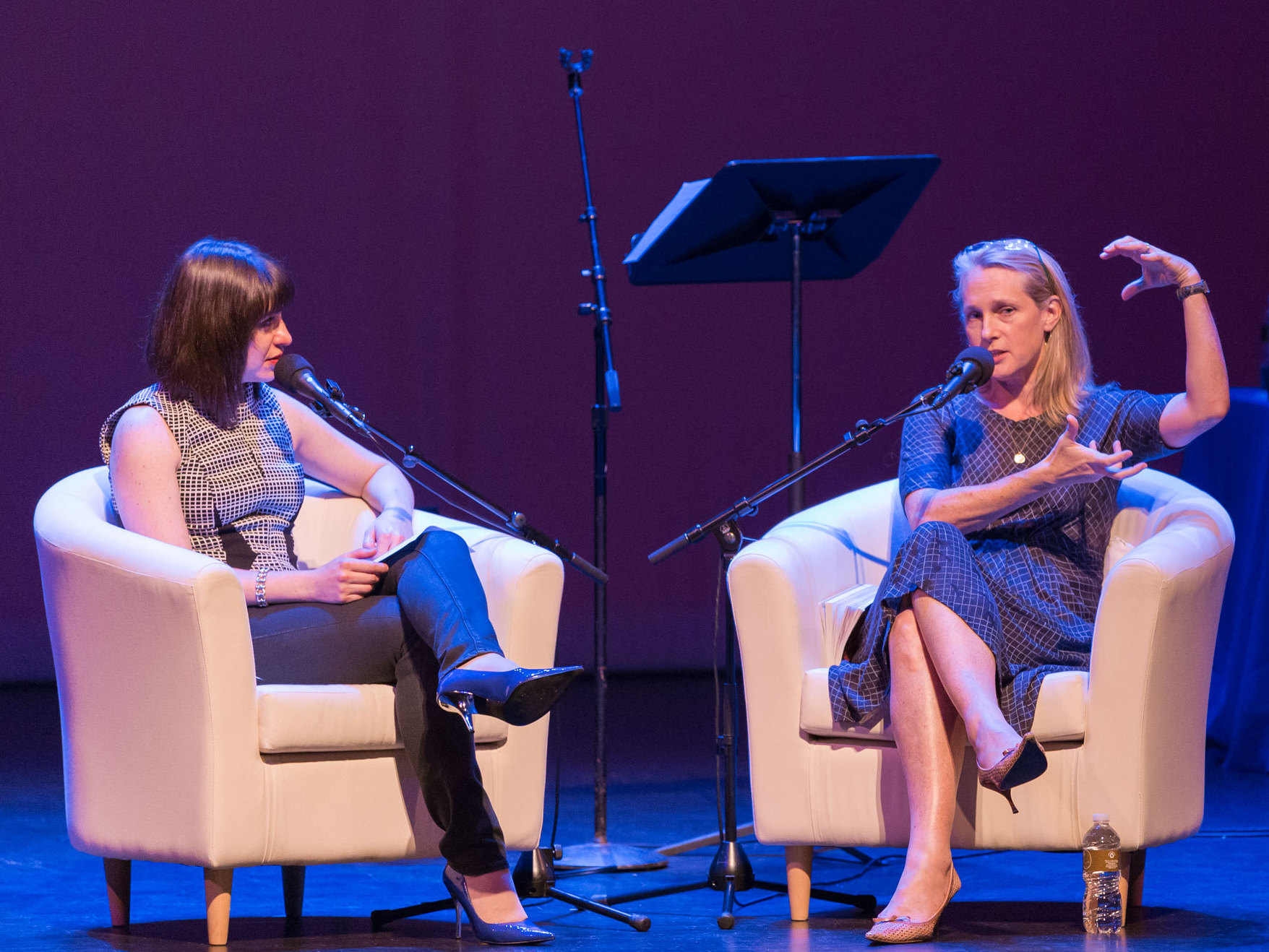 Piper Kerman (right) and Ask Me Another host Ophira Eisenberg.