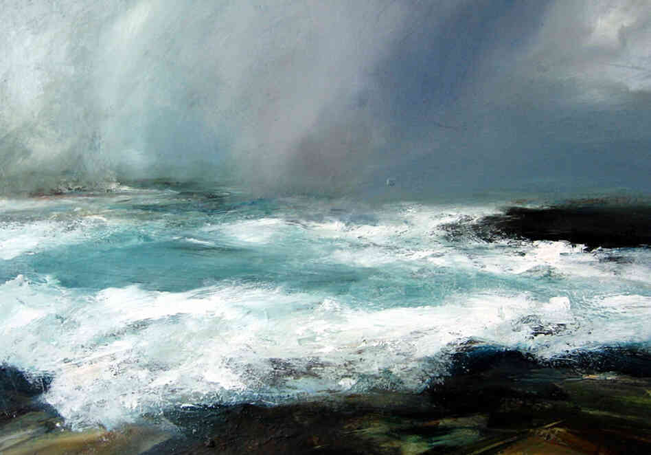 """I knew at once that the work of Ruth Brownlee, Shetland Island artist and relative of my wife, contained the necessary elements of light, emotion, ambience, and the sea,"" says Blackman. Pictured here is Breckon Storm."