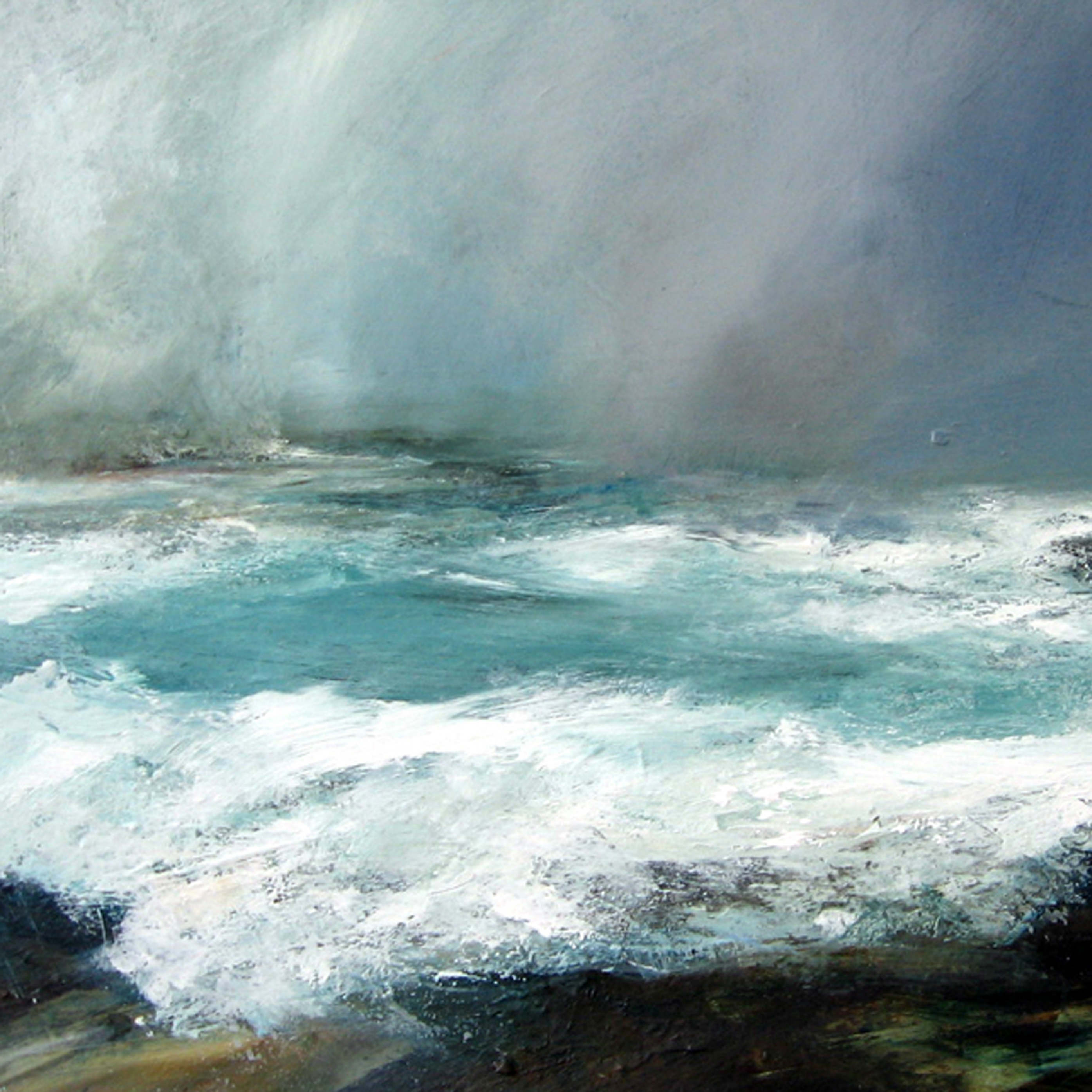 Performances of The Coastal Suite are accompanied by a slow slideshow of Ruth Brownlee's paintings, including this one, Midwinter Gale.