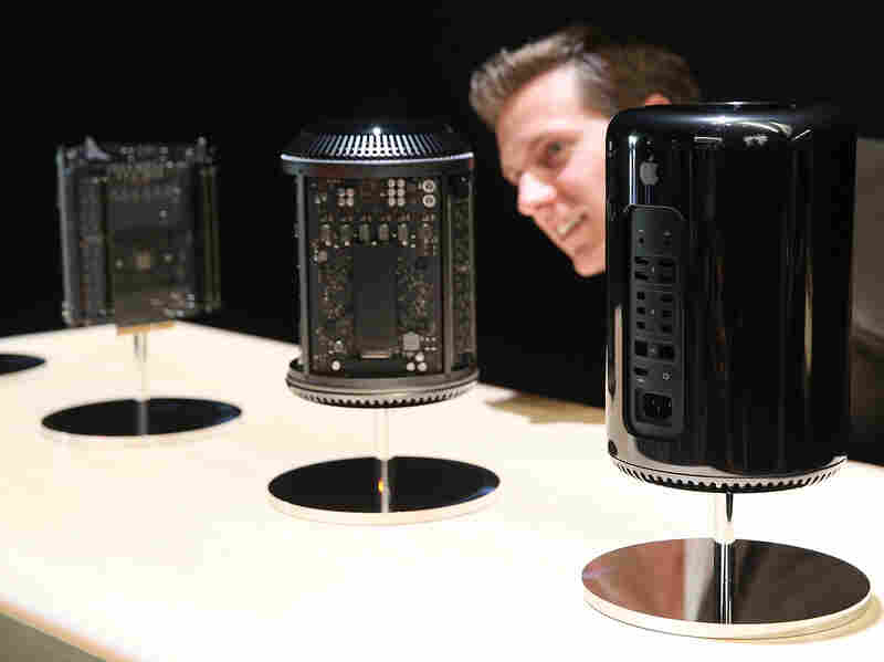An attendee looks at the new Mac Pro during an Apple announcement event in San Francisco.